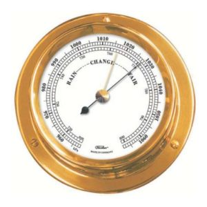 Fischer skibsbarometer i poleret messing